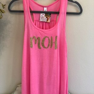 Maid Of Honor MOH Pink Gathered Back Tank …